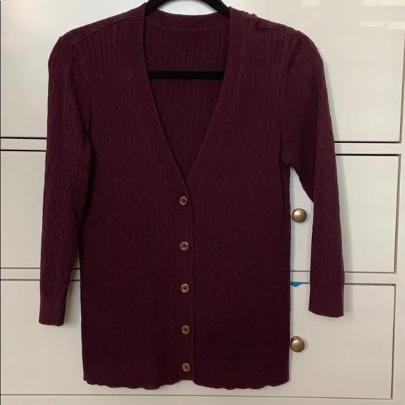 Charter Club Sweaters - Burgundy 3/4 sleeve cardigan